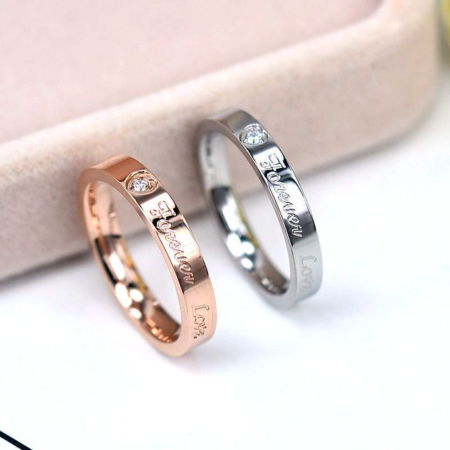 Simple & Elegant 'Love Forever' Beautiful Zircon Gold & Silver Filled Premium Jewelry Rings