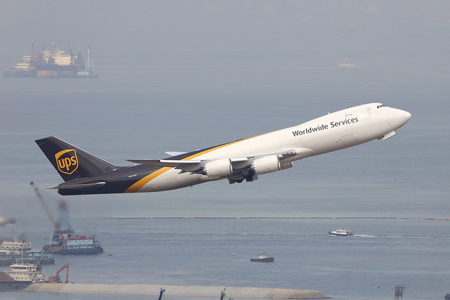 N614UP, Boeing 747-8F, UPS, Hong Kong