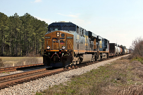 CSX ES44DC 5202 westbound, Laurinberg, NC on March 7, 2013