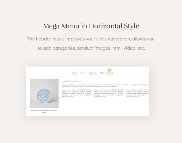 Mega Menu in Horizontal Style