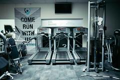 Running machine in the gym.
