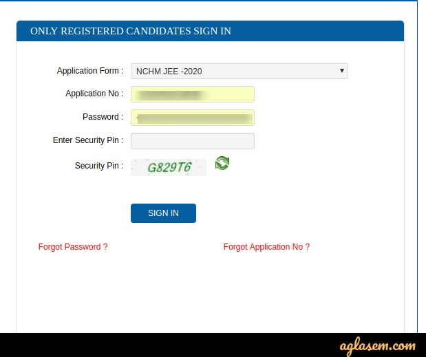 NCHM JEE 2020 Application Form Correction Window