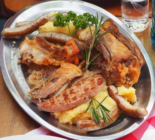 Mixed-Grill-Plate in a Beer Garden in Ruedesheim in Germany