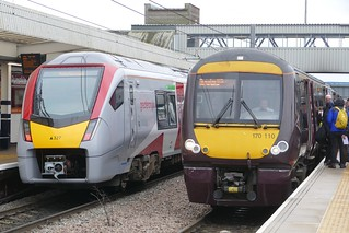 755327 2E76 12:01 Ipswich to Peterborough + 170110 1N55 12:27 Stansted Airport to Birmingham New Street
