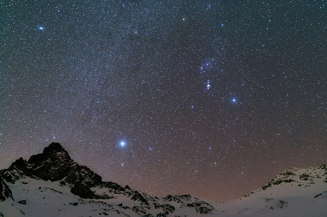 Winter constellations over Tête des Toillies, Queyras, French Alps