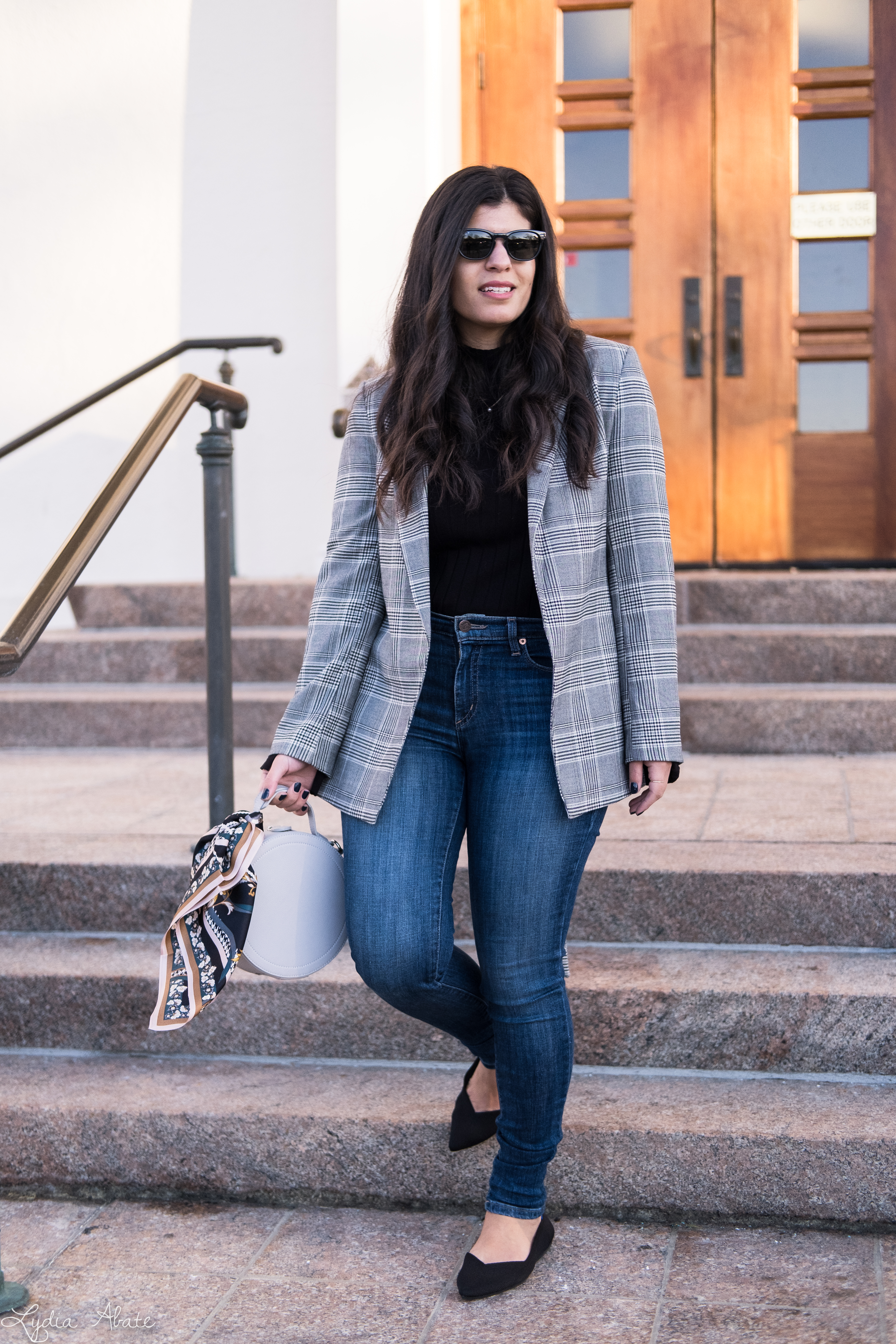 grey plaid blazer, black sweater, jeans, rothys points, round bag-3.jpg
