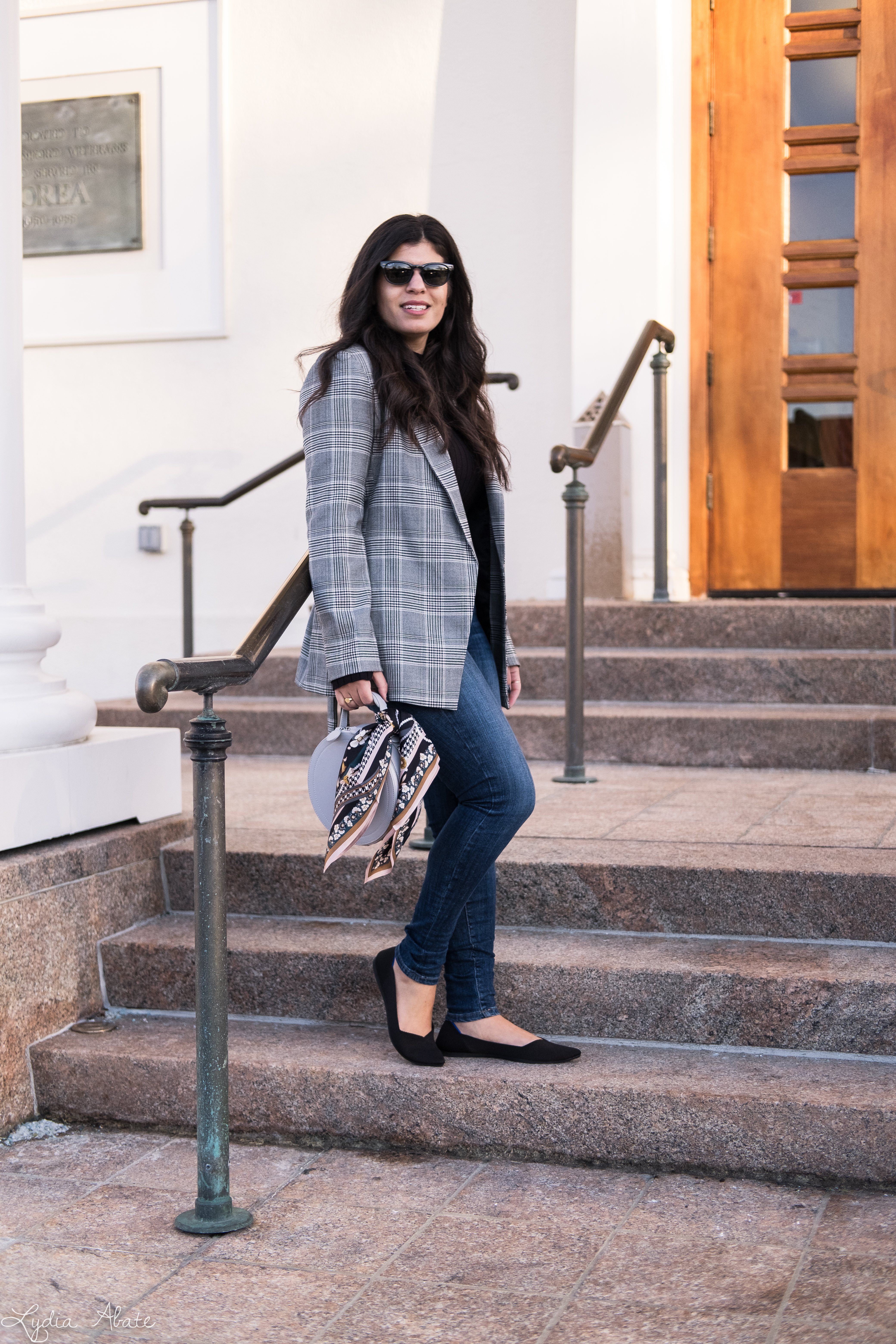 grey plaid blazer, black sweater, jeans, rothys points, round bag-5.jpg