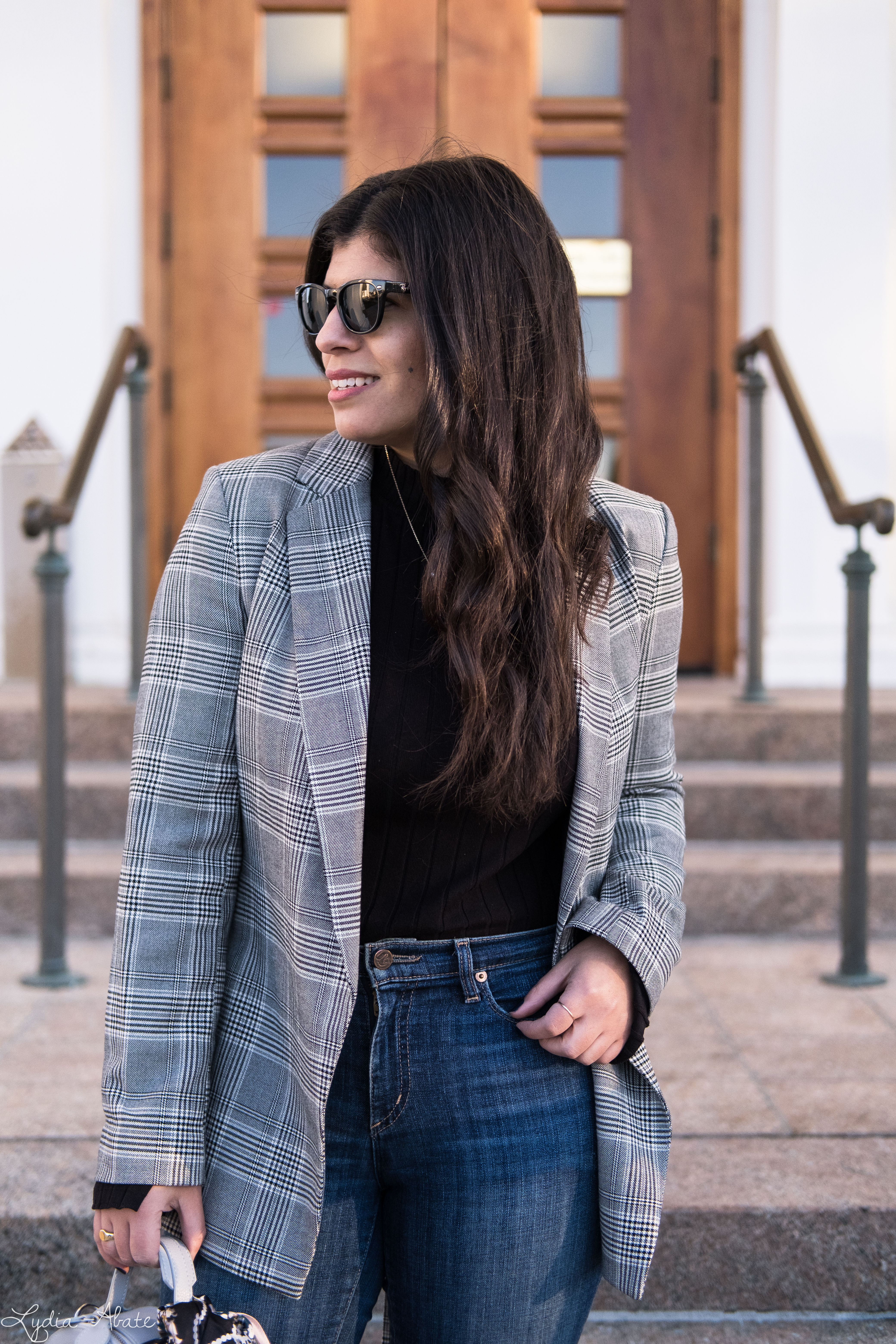 grey plaid blazer, black sweater, jeans, rothys points, round bag-12.jpg