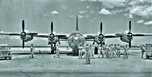 Front view of Consolidated Dominator B-32 bomber at Clark Field, Philippines - 1945