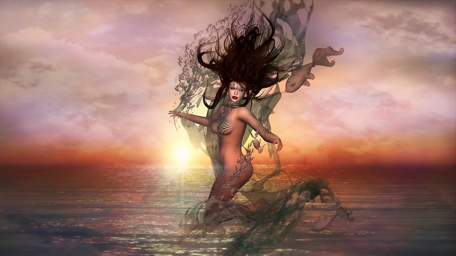 Siren of the Sea...Music inspired Art...Teddiebear Spearsong
