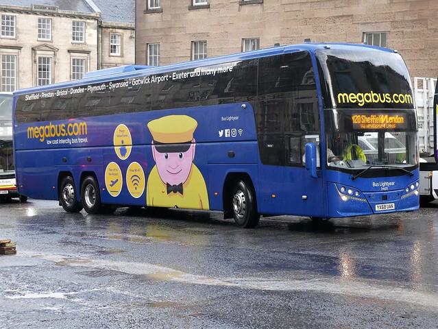 Stagecoach Midland Volvo B11RT Plaxton Elite i YX68UAN 54605, in Megabus livery, named