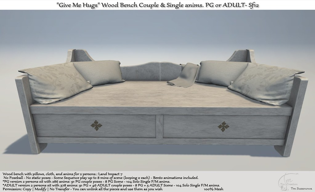 ".:Tm:.Creation ""Give Me Hugs"" Wood Bench with anims. Sf12"