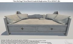 """.:Tm:.Creation """"Give Me Hugs"""" Wood Bench with anims. Sf12"""