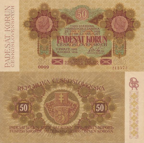 50 korún Československo 1919 - REPLIKA