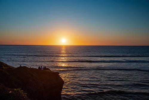 sunset california wave sun pacific ocean