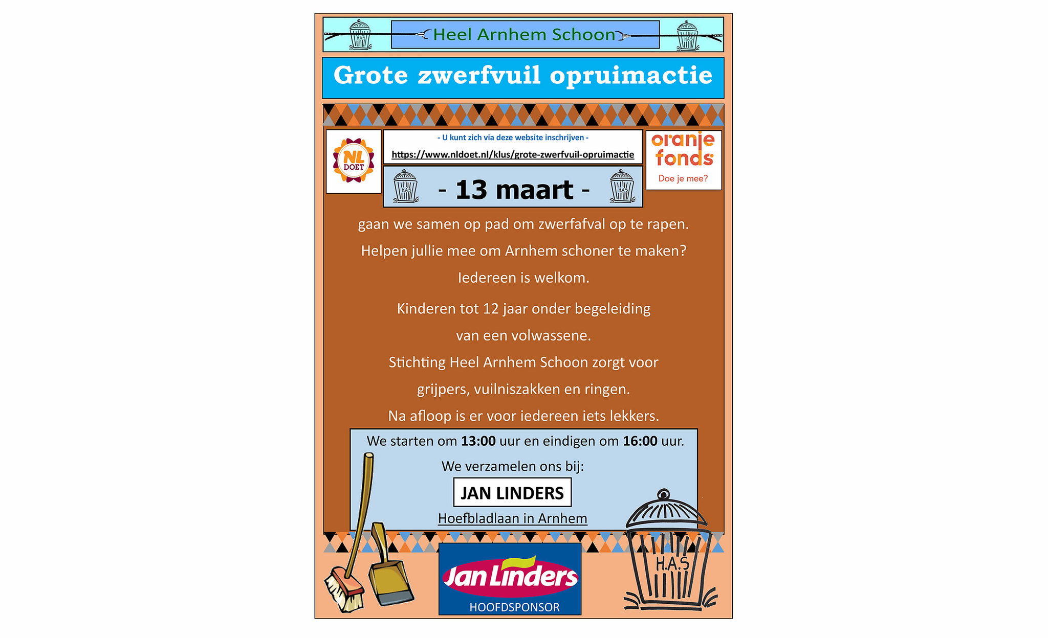 poster NLdoet actie vanuit Heel Arnhem Schoon