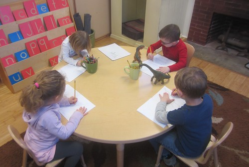 writing about dinosaurs and monkeys