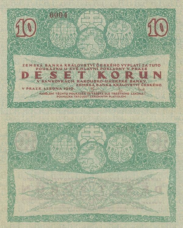 10 korún Zemská Banka Království Českého 1919 - REPLIKA