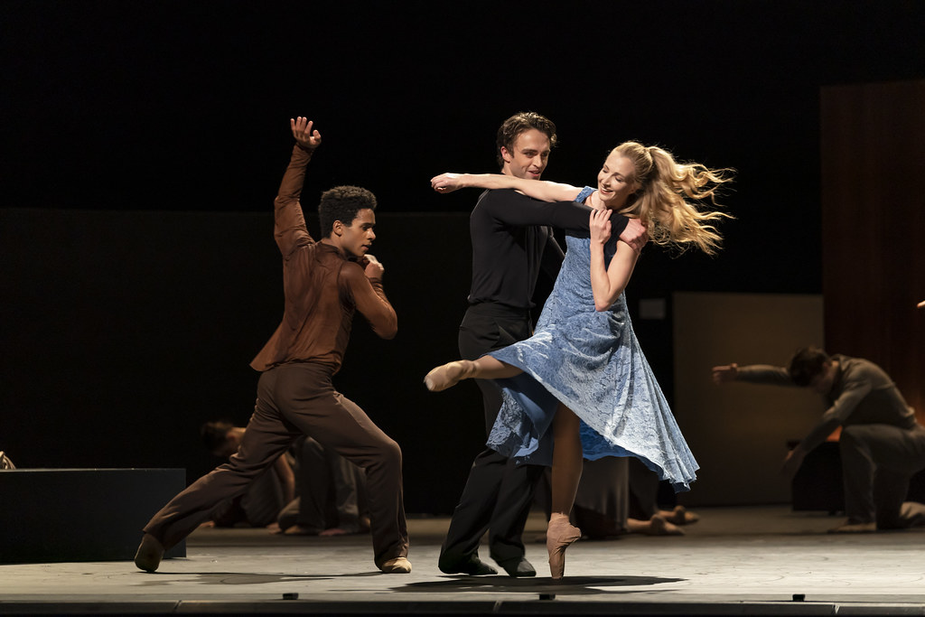 Marcelino Sambé, Matthew Ball and Lauren Cuthbertson in The Cellist, The Royal Ballet ©2020 ROH. Photograph by Bill Cooper