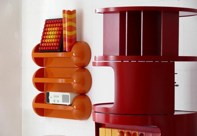 """Orange shelves """"body"""". Design by Gerd Lange for Fehlbaum 1970 …"""