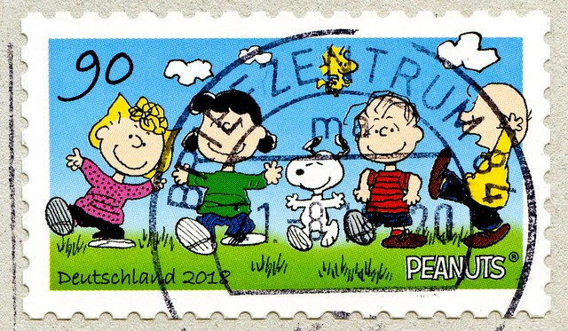 great stamp Germany 90c Peanuts (by Charles M. Schulz; Sally Brown, Lucy van Pelt, Snoopy, Woodstock, Linus van Pelt & Charlie Brown) timbres Allemagne  우표 독일 유럽 sellos Alemania selos Alemanha γραμματόσημα Γερμανία frimerker Tyskland markica Njemačka 90c