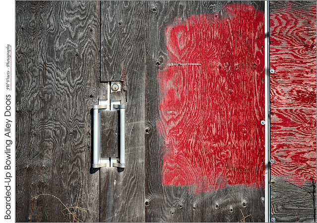 Boarded-Up Bowling Alley Doors