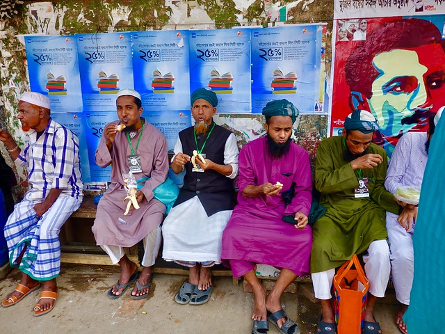 At the bus stop, after prayers