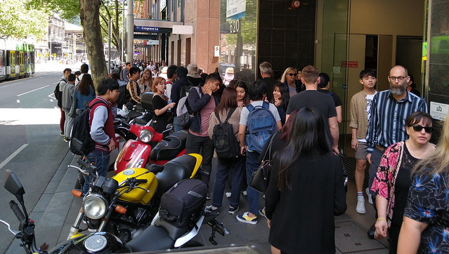 Motorcycles parked on footpath in Bourke Street