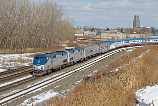 The 045-17  heads passed Central Terminal as it makes its way toward Draw on the Bison Runner. The new high speed train is on its way from Alstom in Hornell, NY to Pueblo, CO for testing.