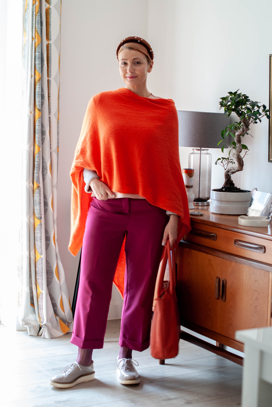 A Maximalist Evening Outfit (That I Adapted For Daytime) / Bold winter outfit: Orange poncho/scarf, berry trousers and flatforms | Not Dressed As Lamb
