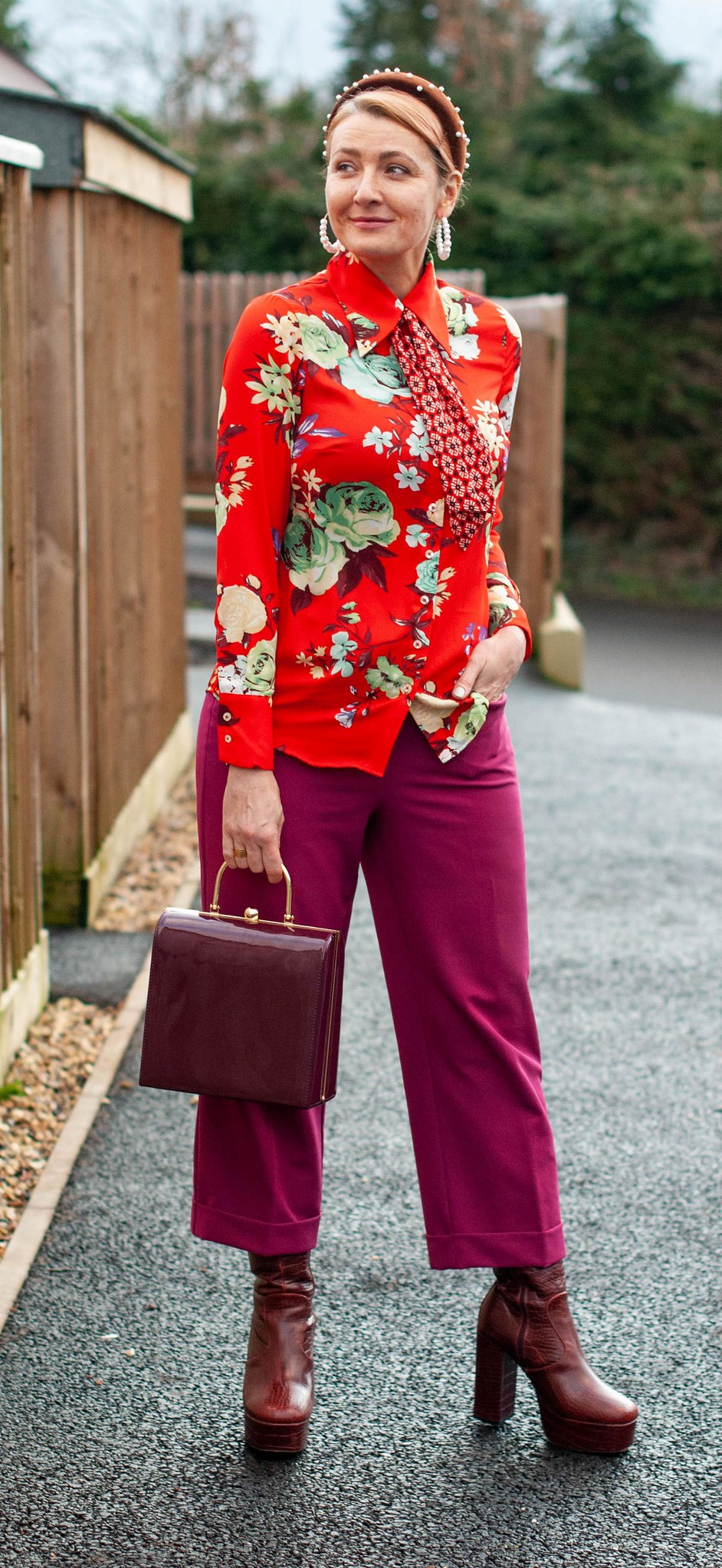A Maximalist Evening Outfit (That I Adapted For Daytime) / Bold winter outfit: Pattern mixed floral shirt, berry trousers and platform boots | Not Dressed As Lamb