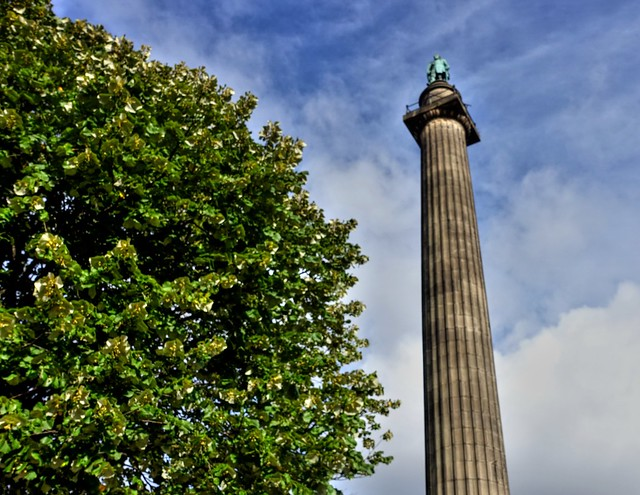Statue of the Duke of Wellington on a column outside St Georges Hall in Liverpool
