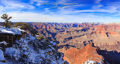 Panorama of the South Rim of the Grand Canyon with Fresh Snow