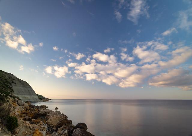 Sea and clouds at Ramla l-Ħamra, Gozo