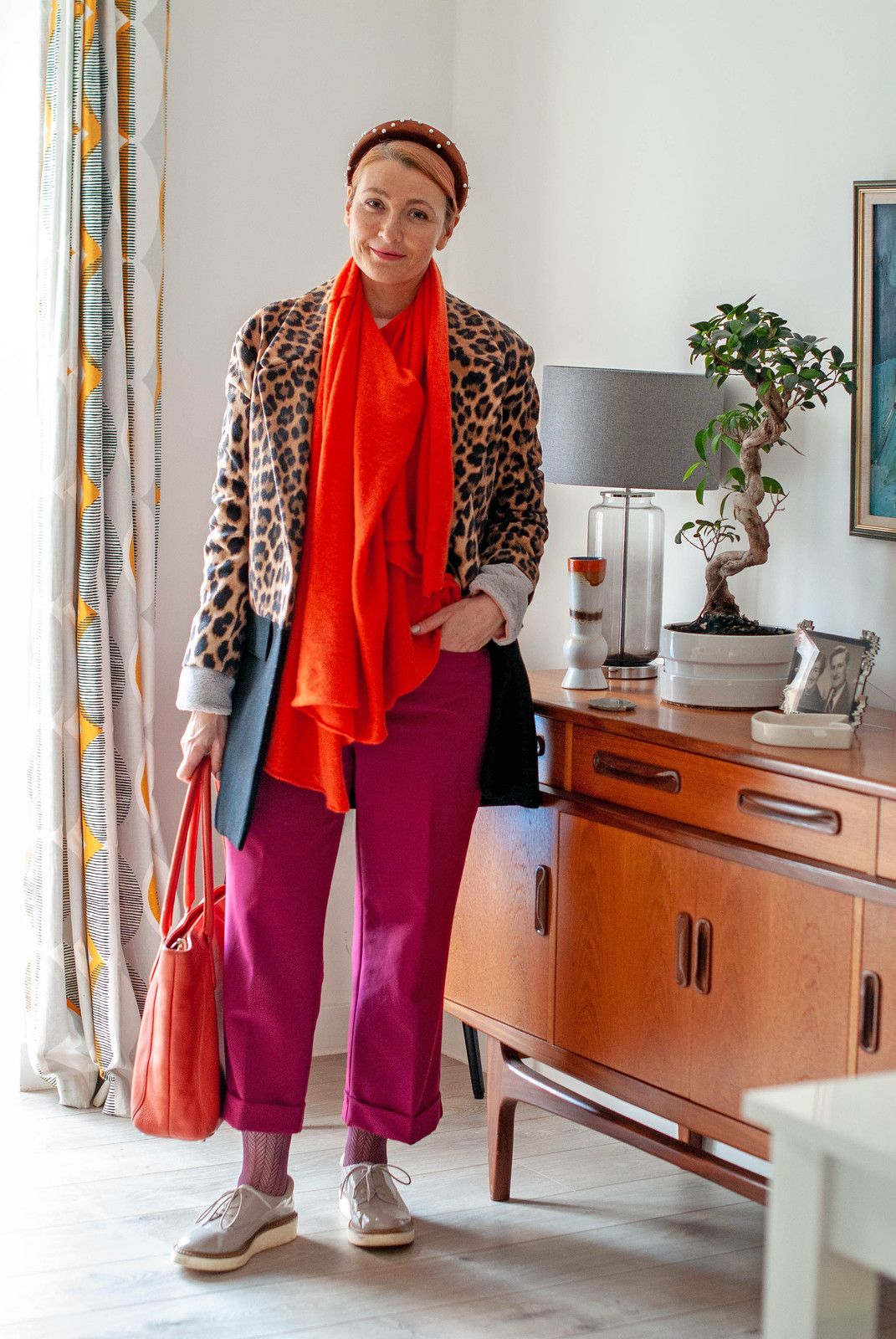 A Maximalist Evening Outfit (That I Adapted For Daytime) / Bold winter outfit: Leopard print coat, orange poncho/scarf, berry trousers and flatforms | Not Dressed As Lamb