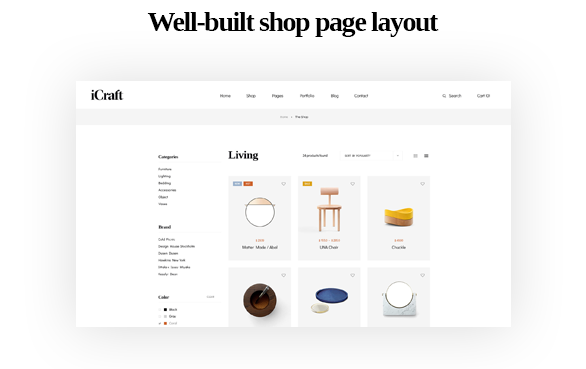 Well built shop page layout-Leo ICraft Prestashop Furniture Theme