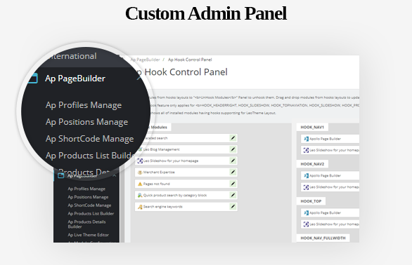 Custom Admin Panel-Leo ICraft Prestashop Furniture Theme