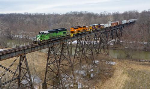 oc ohio central iory indiana oh io train trains emd sd402 lima south local quincy trestle bridge rural winter railroad rail road rails miami river valley bn