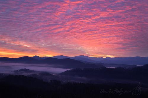 danandhollythompson foothillsparkway gsmnp greatsmokymountainsnationalpark orange purple sunrise danandhollycom fog mountains pink shadows tree yellow