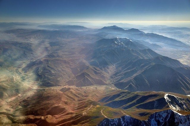 Flying Over the Mountains of Utah on a Flight from Austin