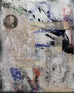 Zavier Ellis 'Omnia Sunt Communia II', 2020 Oil, oil bar, acrylic, spray paint, pencil drawing, collage, masking tape on canvas 30x24cm