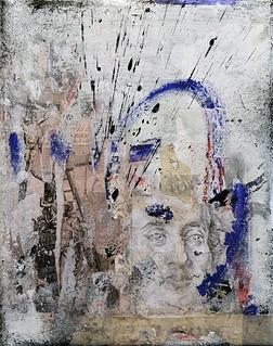 Zavier Ellis 'Omnia Sunt Communia I', 2020 Oil, oil bar, acrylic, spray paint, pencil drawing, collage, masking tape on canvas 30x24cm
