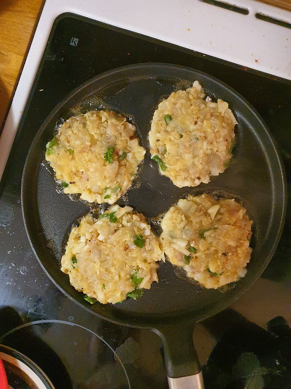 Cod cakes on a pan