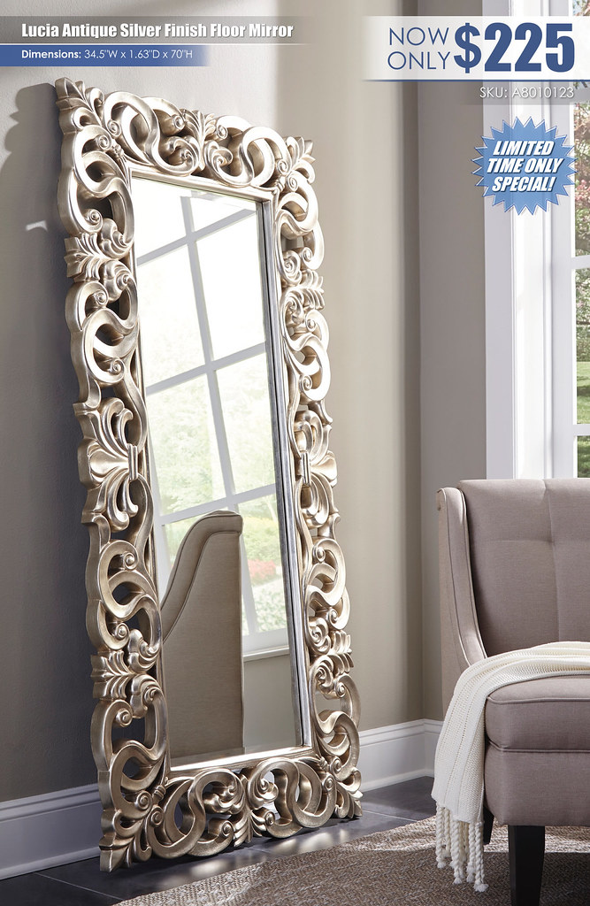 Lucia Antique Silver Finish Floor Mirror_A8010123