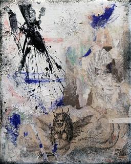 Zavier Ellis 'Omnia Sunt Communia III', 2020 Oil, oil bar, acrylic, spray paint, pencil drawing, collage, masking tape on canvas 30x24cm
