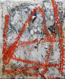Zavier Ellis 'Revolt Repeat_Zero', 2020 Oil, oil bar, acrylic, spray paint, collage on canvas 30.5x25.5cm