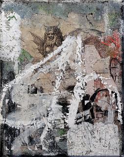 Zavier Ellis 'Revolt Repeat 8 (White)', 2020 Oil, oil bar, acrylic, spray paint, collage on canvas 30x24cm