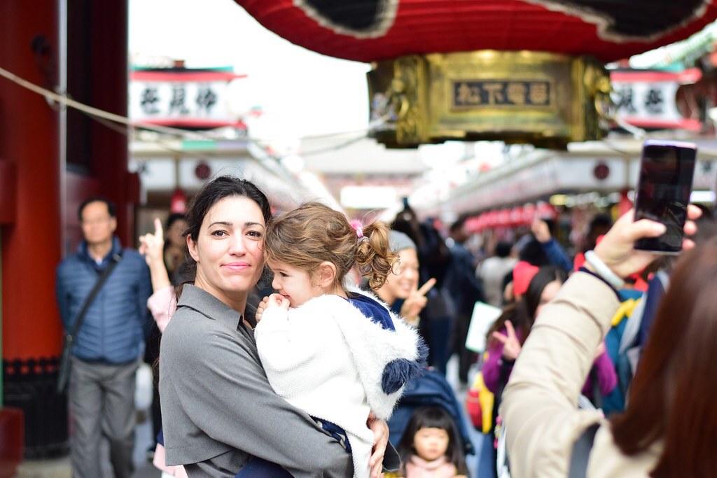 Visitando un templo en Japón. En casos de muchedumbre extremamos las precauciones