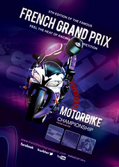 Flyer Poster French Grand Prix Moto Race