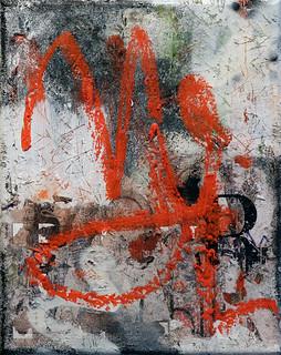 Zavier Ellis 'Revolt Repeat 3 (Red)', 2020 Oil, oil bar, acrylic, spray paint, collage on canvas 30x24cm